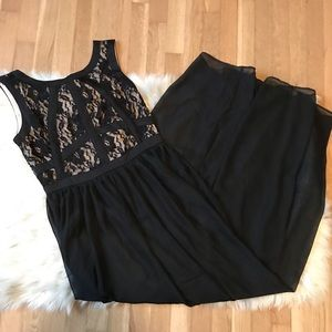 Beige By Eci Black Lace Bodice Maxi Dress